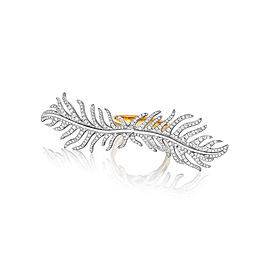 18K Gold Phoenix DoubleFeather Center Pave Diamond Ring