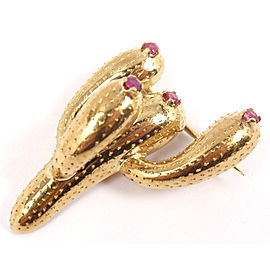 Tiffany & Co. 18K Yellow Gold Ruby Cactus Pin Brooch