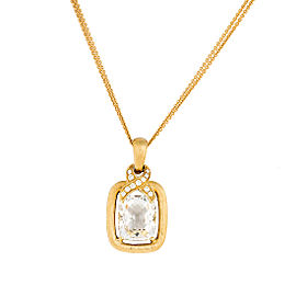 18k Yg Capri Ec Cushion White Topaz and Diamond Textured Satin Pendant With 2-strand Chain
