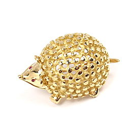 Tiffany & Co. Schlumberger 18K Yellow Gold Hedgehog Ruby Eyes Pin Brooch