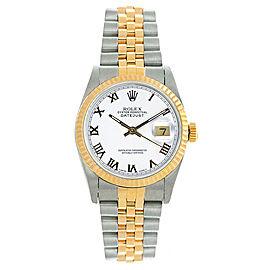 Rolex Women's Datejust Midsize Two Tone Fluted White Roman Dial