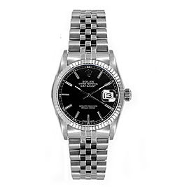 Rolex Women's Datejust Midsize Stainless Steel Black Index Dial