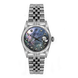 Rolex Women's Datejust Midsize Stainless Steel Fluted Custom Black Mother of Pearl Diamond Dial