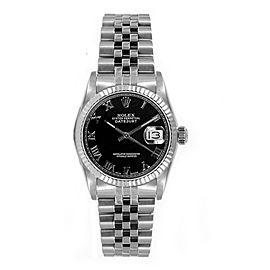 Rolex Women's Datejust Midsize Stainless Steel Black Roman Dial