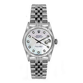 Rolex Women's Datejust Midsize Stainless Steel Fluted Custom Mother of Pearl Diamond Dial