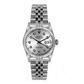 Rolex Women's Datejust Midsize Stainless Steel Custom Silver Diamond Dial