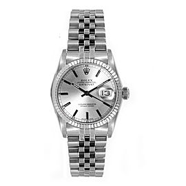 Rolex Women's Datejust Midsize Stainless Steel Silver Index Dial