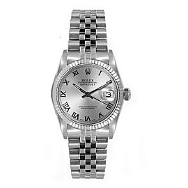 Rolex Women's Datejust Midsize Stainless Steel Silver Roman Dial