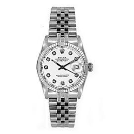 Rolex Women's Datejust Midsize Stainless Steel Custom White Diamond Dial