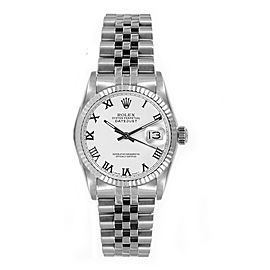 Rolex Women's Datejust Midsize Stainless Steel White Roman Dial