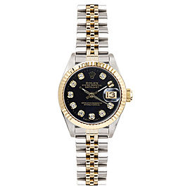 Rolex Women's Datejust Two Tone Fluted Custom Black Diamond Dial