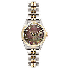 Rolex Women's Datejust Two Tone Fluted Custom Dark Pearl Diamond Dial