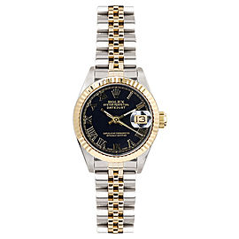 Rolex Women's Datejust Two Tone Fluted Black Roman Dial 26 mm Women's Watch