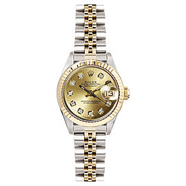 Rolex Women's Datejust Two Tone Fluted Custom Champagne Diamond Dial