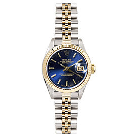 Rolex Women's Datejust Two Tone Fluted Blue Index Dial 26 mm Women's Watch