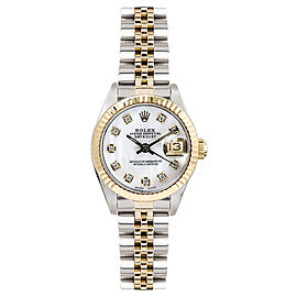 Rolex Women's Datejust Two Tone Fluted Custom Mother of Pearl Diamond Dial