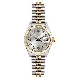 Rolex Women's Datejust Two Tone Fluted Custom Silver Diamond Dial