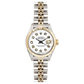 Rolex Women's Datejust Two Tone Fluted Custom White Diamond Dial