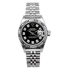 Rolex Women's Datejust Stainless Steel Custom Black Diamond Dial