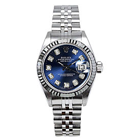 Rolex Women's Datejust Stainless Steel Custom Blue Diamond Dial