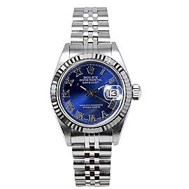 Rolex Women's Datejust Stainless Steel Blue Roman Dial 26 mm Women's Watch