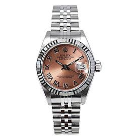 Rolex Women's Datejust Stainless Steel Custom Pink Roman Dial