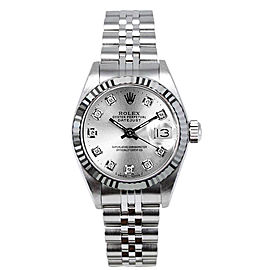 Rolex Women's Datejust Stainless Steel Custom Silver Diamond Dial