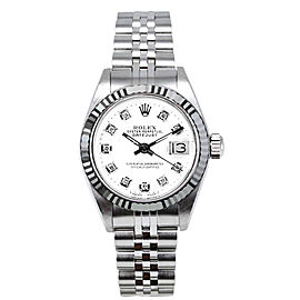 Rolex Women's Datejust Stainless Steel Custom White Diamond Dial
