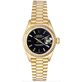 Rolex Women's President Yellow Gold Fluted Black Index Dial 26 mm Women's Watch