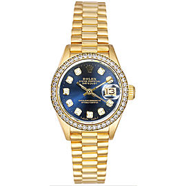 Rolex Women's President Yellow Gold Custom Diamond Bezel & Blue Diamond Dial 26 mm Women's Watch
