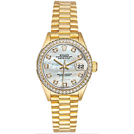 Rolex Women's President Yellow Gold Custom Diamond Bezel & Mother of Pearl Diamond Dial