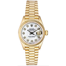Rolex Women's President Yellow Gold Fluted Custom Mother of Pearl Diamond Dial