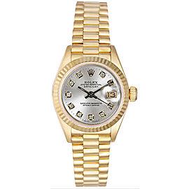 Rolex Women's President Yellow Gold Fluted Custom Silver Diamond Dial