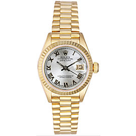 Rolex Women's President Yellow Gold Fluted Silver Roman Dial 26 mm Women's Watch