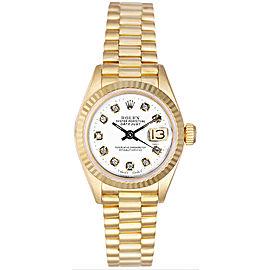 Rolex Women's President Yellow Gold Fluted Custom White Diamond Dial
