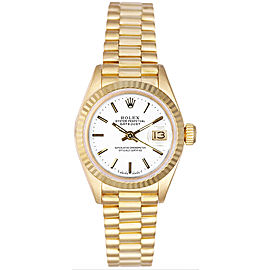 Rolex Women's President Yellow Gold Fluted White Index Dial