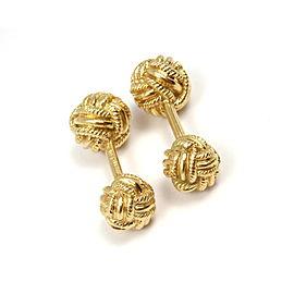 Tiffany & Co. Schlumberger 18K Yellow Gold Woven Knot Cufflinks