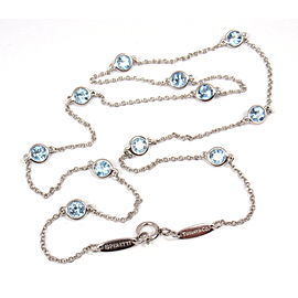 Tiffany & Co. Platinum Color By Yard Aquamarine Necklace
