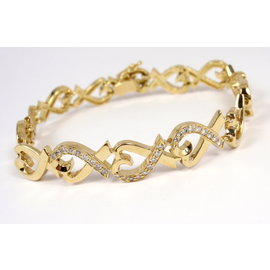 Tiffany & Co. 18K Yellow Gold Diamond Picasso Loving Hearts Bracelet