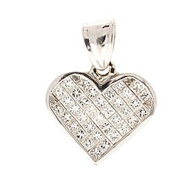 1.96 Carat Total Princess Cut Diamond Pendant in 14 Karat White Gold
