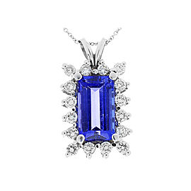 5.50 Carat Emerald Cut Tanzanite and Diamond Pendant