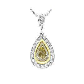1.07 Carat Natural Fancy Yellow Pear Shaped Diamond Two-Tone Pendant