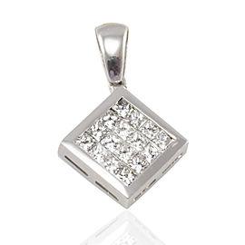 1.15 Carat Total Invisible Set Princess Cut Diamond Pendant