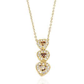 0.39 Carat Total Heart Shape Orange-Brown Diamond 18 Karat Yellow Gold Pendant