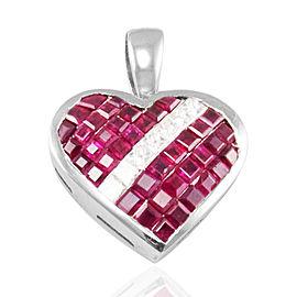 3.24 Carat Total Invisible Set Princess Cut Rubies and Diamond Gold Pendant
