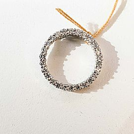 0.40 Carat Total Diamond Circle Pendant in 14 Karat White Gold