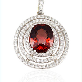 4.77 Carat Oval Spessarite Garnet and Diamond White Gold Pendant