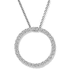 1.15 Carat Total Diamond White Gold Circle Pendant