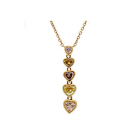 0.93 Carat Total Natural Fancy Intense Heart Shaped Diamonds Pendant Necklace