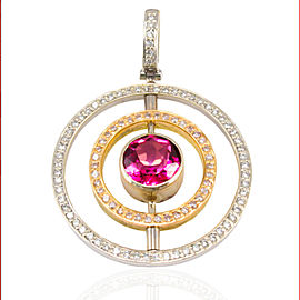 0.59 Carat Total Tourmaline and Diamond Two-Tone Pendant in 18 Karat Gold